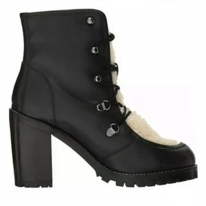 Seychelles black lace ankle boots shearling bootie